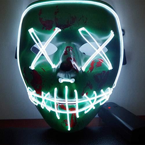 URMAGIC Halloween Kostüm Maske leuchtenden Schädel voller Gesichtsmaske Horror Skelett Cosplay Masquerade Scary EL Draht führte Licht blinkende Maske Glühen in dunkel für Karneval Festival Party