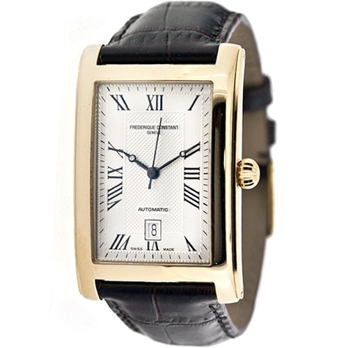 Frederique Constant Carree FC-303MC4C25 30.7mm Gold Plated Stainless Steel Case Brown Leather anti-reflective sapphire Men's Watch