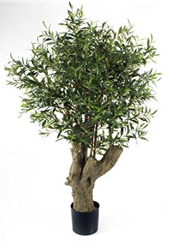 artplants – Künstlicher Olivenbaum mit dickem Stamm, 3468 Blätter, 140 cm – Kunstbaum / Baum mit Oliven