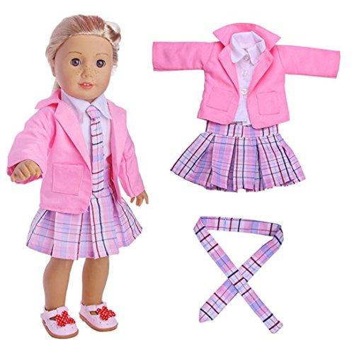 Puppen Kleidung , YUYOUG 4PC Student Kleidung gefaltetes Kleid Uniform Outfit für 18-Zoll-American Girl Und die anderen 45-46cm Puppen (Rosa)