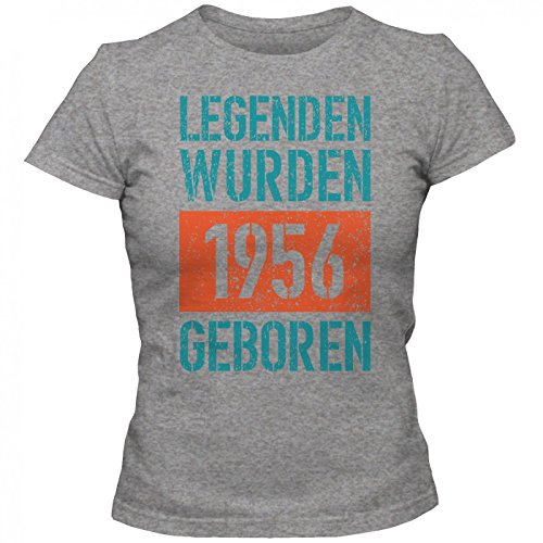 Legenden 1956 #1 T-Shirt | Jahrgang 56 | 61.Geburtstag | Geschenkidee | Frauen | Shirt © Shirt Happenz Graumeliert (Grey Melange L191)