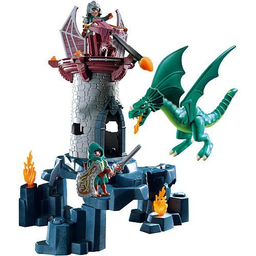 PLAYMOBIL 5913–Knights Attack Tower–mit Grün Dragon & 2Figuren