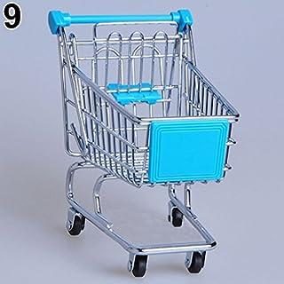 ALCYONEUS Mini Shopping Cart Supermarket Hand Trolley Desktop Decoration Storage Toy (Sky Blue)