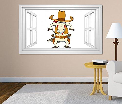 3D Wandtattoo Fenster Cowboy Pferd lustig Cartoon Kinderzimmer Waffe Hut weiß Wand Aufkleber Wanddurchbruch sticker selbstklebend Wandbild Wandsticker Wohnzimmer 11O2515, Wandbild Größe F:ca. 140cmx82cm