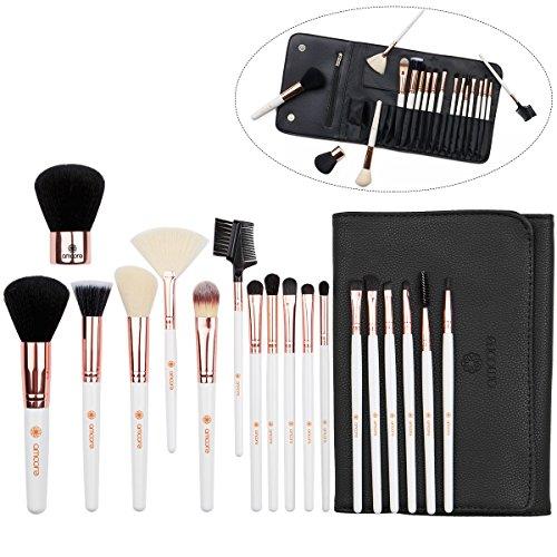 amoore Make Up Pinsel Pinselset Make Up Pinsel Sets Make Up Buersten mit der PU Leder Kosmetiktasche (18 Stück, weiß)
