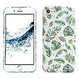 LAPOPNUT Coque iPhone 6 Plus Coque iPhone 6S Plus Housse Etui de Protection Fille Femme Chic Motif de Feuilles Tropicales Été Mat Antichoc Slim Bumper PC Rigide pour Apple iPhone 6 Plus/ 6S Plus Vert