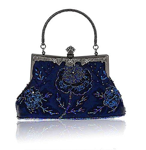 Baglamor Frauen Vintage Style Handtasche Rosen Perlen Geldbörse Pailletten Abendtasche Hochzeit Kupplung (Vintage Tasche Abend Perlen)