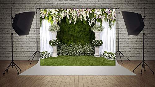 WaW Fotohintergrund Hochzeitszeremonie Blumenvorhang Fotowand Hintergrund Hochzeit Stoff Kulisse Brautdusche Party Foto Requisiten 3x2m