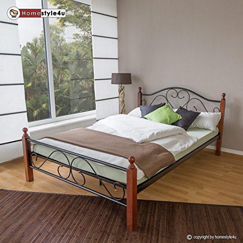 Homestyle4u Metallbett 140 x 200 Bettgestell mit Lattenrost