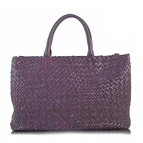 Ghibli luxe italien tissé à la main en cuir grand sac sac shopper, sac à main (violet)