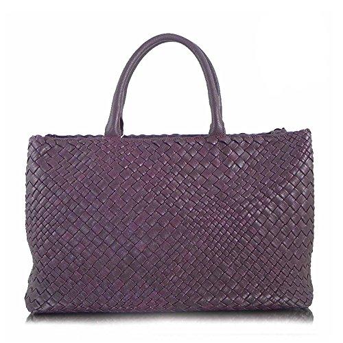 Ghibli Handtasche Luxus großer taupe lederner italienischer handgewebter Totebeutelbeutel lila B7BxPqrfw