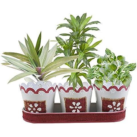Regalos de Navidad, Conjunto de 3 jardineras cubierta hecha a mano con Rosa floral del cordon de yute Motifsbandeja para llevar facil