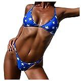 Fuibo Women Bikini Summer Beach Bohemia Style < Women Bikini Push Up Swimsuit Star Print Bikini Set Bandage > Bra Swimsuit Swimwear Monokini (S, Blue)