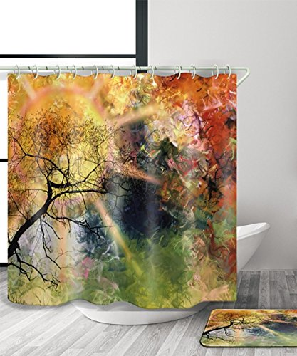 Duschvorhang Kreative 3D-Druck Duschvorhang wasserdicht Moldproof Bad Vorhang mit Haken (11 Größen) (Farbe: A, Größe: 120 * 180 cm).
