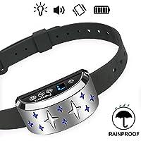 [Gesponsert]PetInn Wiederaufladbar Anti Bell Halsband mit Licht und 7 Empfindlichkeit Vibration und Ton für alle Größe Hunde Silber