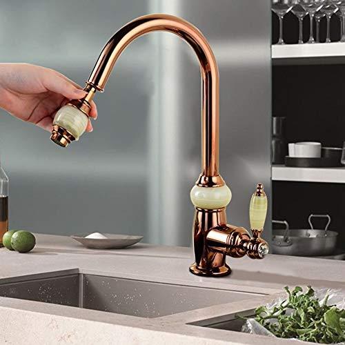 Ziehen Küchenarmatur Out Mixer Rose Gold Kalt Heiß zieht Spray-Küche-Wannen-Mischer-Hahn-Schwenkauslauf Taps Küchenarmaturen Granit Pull Down (Granit-spüle Copper)