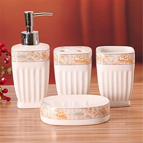 Liyongdong Accessoires De Salle De Bain Four Set Emulsion Bottle Porte-Brosse à Dents Mouthwash Cup Savon