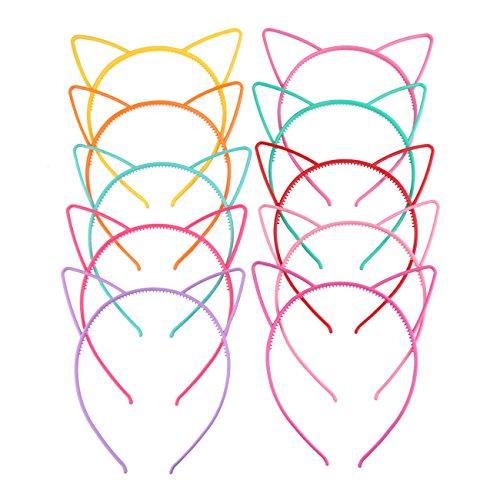 Candygirl 10 Piezas Diademas de Orejas de Gato Plástico de Fiesta de Disfraces Diademas para Mujers Niñas Multicolor