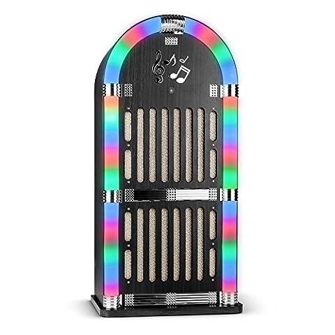 auna Memphis WD Jukebox Musikbox Retro Stereoanlage 50er Jahre Style inkl. Fernbedienung (Bluetooth-Schnittstelle, UKW-Radiotuner mit Sender-Scan-Funktion, 2x AUX-Eingang, LED-Lichteffekt) schwarz