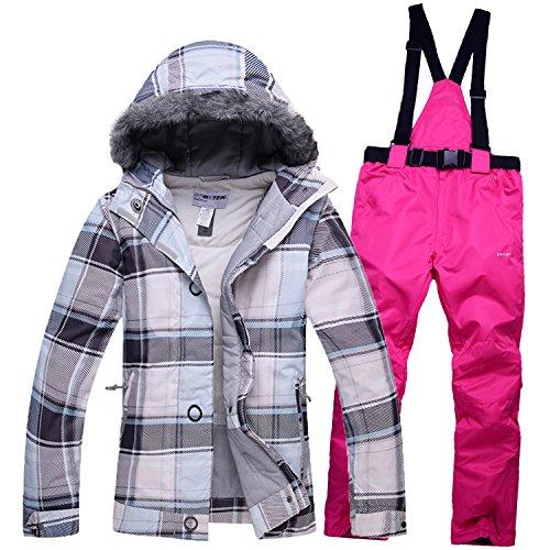 HUA&X Frauen Mantel ski Jacke hose Anzug wasserdichte Regenjacke warme zipper Hosen verdickt, XL, 12