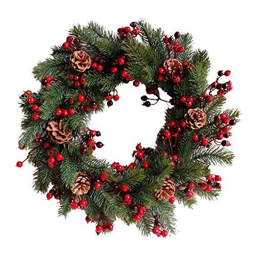 Sodial ghirlanda natalizia artificiale decorata rami verdi con pigne bacche rosse decorazioni natalizie per interni/esterni 45cm