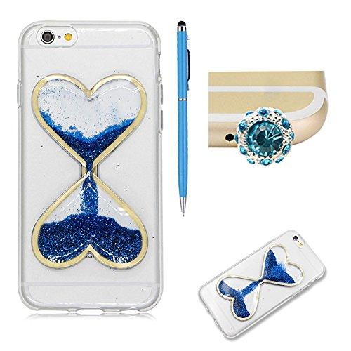 """SKYXD Coque Pour Iphone 7 PLUS 5.5"""" 3D Motif Bling Glitter Fluide Liquide Sparkles Sables Mouvants Paillettes Flowing Brillante Étui Strass Ultra Mince Transparente Crystal Clair Souple TPU Silicone B Bleu"""