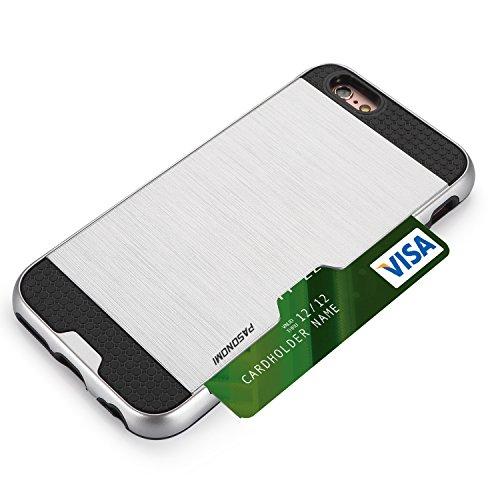 iPhone 6S Plus Hülle, iPhone 6 Plus Hülle, Pasonomi® [Outdoor] [Heavy Duty] [Dual Layer] Hybrid Bumper Schutzhülle Case Cover mit Kreditkartenfach für Apple iPhone 6 Plus und iPhone 6S Plus (5,5 Zoll) Silber
