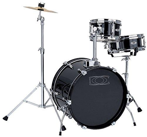"""GEWA pure Drumset Junior schwarz foliert, 16x11"""" BD, 10x06"""" TT, 10x4"""" SD (Holz), 10"""" Becken, Ständer, Pedal, Trommelstöcke"""