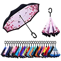 NNY Inc Double Layer Inverted Umbrella Cars Reverse Open Folding Umbrellas, Windproof UV Protection Large Self Stand Upside Down Straight Umbrella for Golf Women and Men with C-Shaped