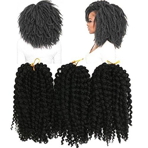 Bureze 3 pièces/Lot 20,3 cm Noir Marron africain Cheveux synthétiques Crochet Petite tresses Perruques pour femme