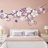 Wandora W1477 Wandtattoo Wandaufkleber 2-farbige Blumenranke mit Schmetterling Wohnzimmer Schlafzimmer Küche violett (BxH) 151 x 58 cm
