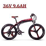 RICH BIT Vélo Électrique Pliant, RLH-880, 250W 36V 9.6AH, Freins à Disque hydrauliques ebike, Noir-Rouge