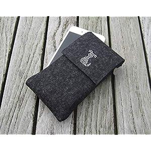 zigbaxx Handyhülle Filz Handytasche DOG für iPhone 8/7/6, iPhone 8 plus/7/6, Smartphone-Hülle handmade Wollfilz Hund Strass pink anthrazit-schwarz beige grau braun Geschenk Weihnachten Hundeliebhaber