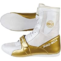 Pro Box Speed Lite Senior Boxing Boots Adult Sparring Trainers - White/Gold
