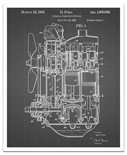 JP London posjsg49Henry Verbrennungsmotor Ford Motor Abziehen und Aufkleben Vintage Schwarz Grid Poster Patent Art, schwarz/weiß Gitterlinien, 61x - Verbrennungsmotoren