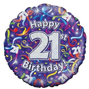 Happy 21st Birthday Purple Streamers Balloon Delivered Inflated In A Box With Free Delivery