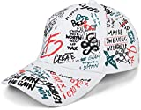 styleBREAKER 6-Panel Cap mit All Over Statement Sprüche Print, Grafiiti Look, Baseball Cap, Basecap, verstellbar, Unisex 04023063, Farbe:Weiß