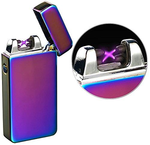 PEARL Elektrofeuerzeug: Elektronisches USB-Feuerzeug mit doppeltem Lichtbogen & Akku, violett (Elektrische Akku Feuerzeuge)