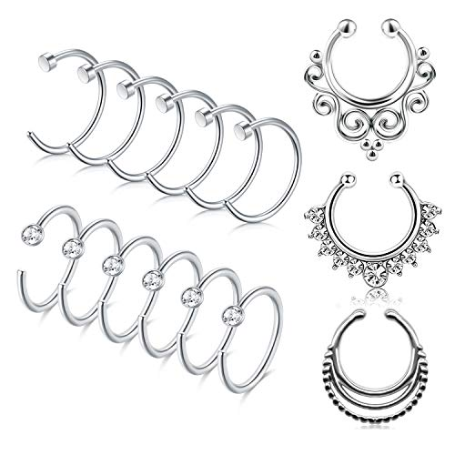 Incaton 16 Gauge 15stk Fake Nasenpiercing Nasenring Non-Piercing Lippe Septum Ring Fake Hoop Ring mit Kristall Piercing Schmuck Silber