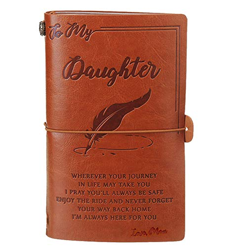 PerGrate Engraved Leather Journal Notebook Travel Business Diary Book Gifts, To My Daughter Where Ever Love Dad Notebook,Love Mom And Love Dad