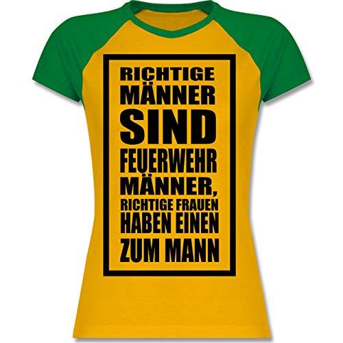 Shirtracer Feuerwehr - Feuerwehr - Richtige Männer - Zweifarbiges Baseballshirt/Raglan T-Shirt für Damen Gelb/Grün