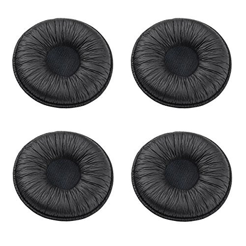 Bingle Ear Cushions Leatherette Spare Replacement for Plantronics Supra Plus Encore and Most Standard Size Office Telephone Headsets H251 H251N H261 H261N H351 H351N H361 H361N (4 Pack)(BEC-LTH4)