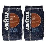 Lavazza Kaffee Espresso Super Crema, ganze Bohnen, Bohnenkaffee (2 x 1kg Packung)