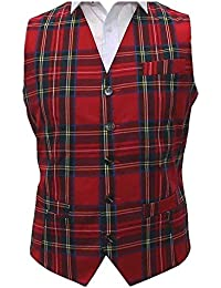 Traditional Red & Yellow Tartan Check Tailord Fit Waistcoat, Scottish, Stewart, Scotland