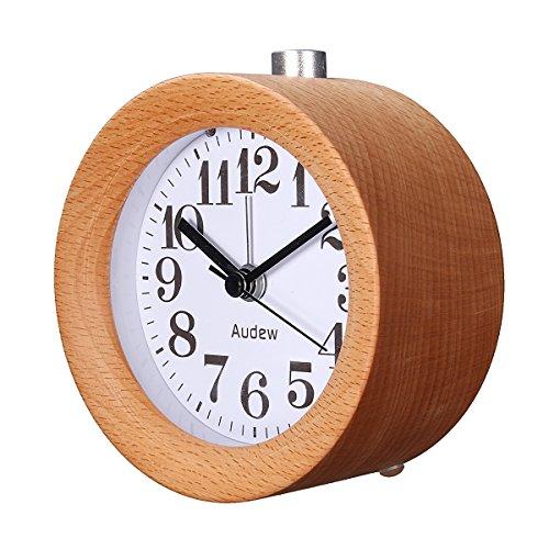 AUDEW-Rveil-Classique-Silencieux-Alarme-Horloge-Chevet-en-Bois-de-Htre-avec-Veilleuse-Creative-Pour-HomeBureauChambre
