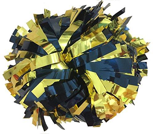 Paar- Metallic Cheerleading Pompons mit Taktstock Griff (- Gold / Navy Blau)