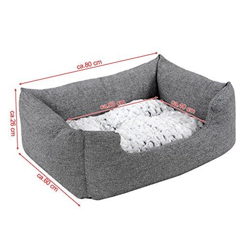 Songmics Hundebetten innenkissen Beidseitig Verwendbar mit unten einen Anti-Rutschboden 80 x 60 x 26 cm PGW26G - 3