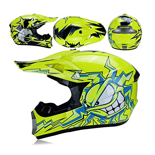LEENY Motocrosshelm Sets mit Brille Handschuhe Maske, Crosshelm Cross Country Full Face Helm Motorrad-Off-Road-Helm DH Enduro Downhill Dirt Bike ATV Quad MTB BMX für Erwachsene Männer Frauen,S