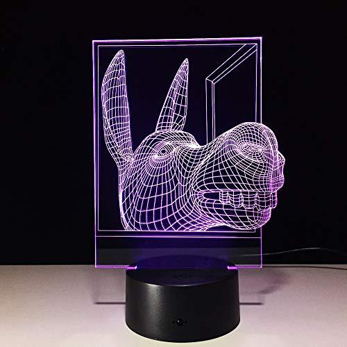 Donkey 3d ha condotto la lampada Usb ha condotto la luce notturna Batteria ha condotto le luci 7 colori che cambiano potenza per gli amici I migliori regali per la casa Deco intelligent
