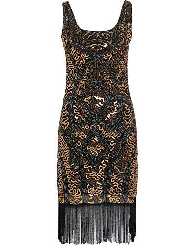 Babeyond Damen Weinlese Gatsby Kleid Zwanziger Jahre Flapper Dress Art Deco Kleider Schwarz und Gold (Etikett S/ UK8-10/ EU36-38)